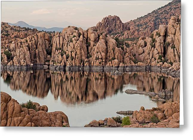 Watson Lake Tranquility Greeting Card by Angie Schutt