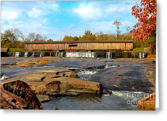 Covered Bridge Greeting Cards - Watson Mill Covered Bridge 7 Greeting Card by Reid Callaway