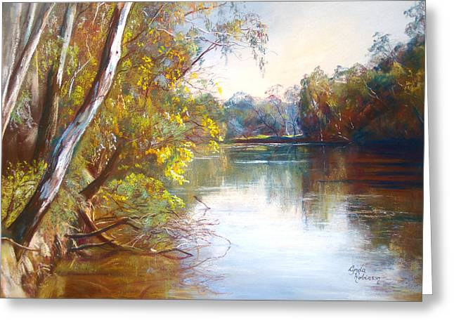 Australia Pastels Greeting Cards - Wattle Time Goulburn River Greeting Card by Lynda Robinson