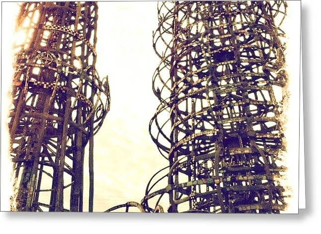 Outsider Art Sculptures Greeting Cards - Watts Towers Greeting Card by Judith Kitzes