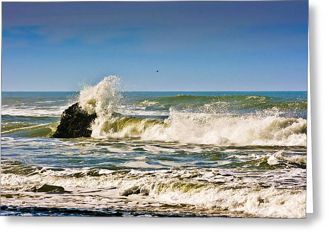 Half Moon Bay Greeting Cards - Wave Action 2 Greeting Card by Dennis Coates
