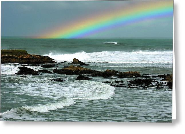 Steamer Lane Greeting Cards - WAVE and a RAINBOW Greeting Card by Ru Tover