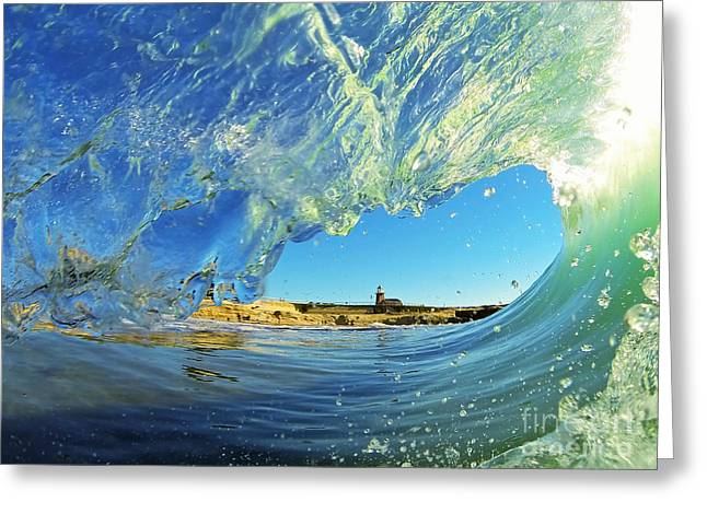 Santa Cruz Surfing Greeting Cards - Wave and Lighthouse 1 Greeting Card by Paul Topp