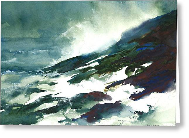 Wave And Rocks - Storm On The North Shore Greeting Card by William Beaupre
