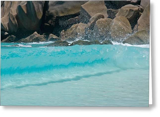 Wave At Petite Anse, La Digue Greeting Card by Panoramic Images