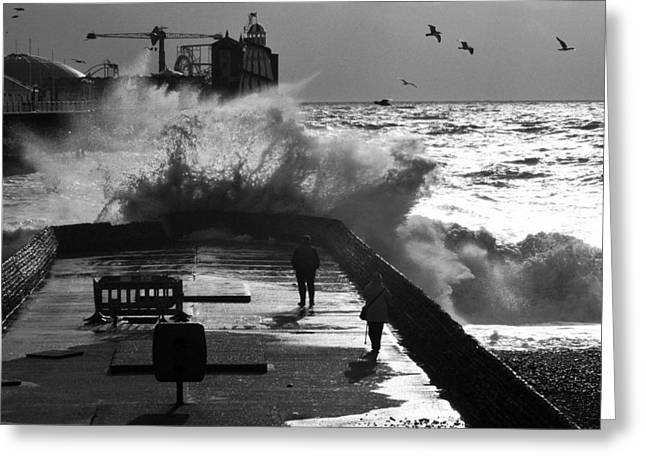 The Buffet Greeting Cards - Wave at the Pier Greeting Card by Barry Goble