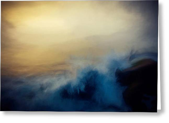 Foggy Beach Mixed Media Greeting Cards - Wave Break Greeting Card by John K Woodruff