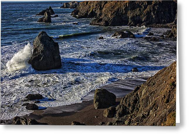 Sonoma Greeting Cards - Wave breaking on rock Greeting Card by Garry Gay