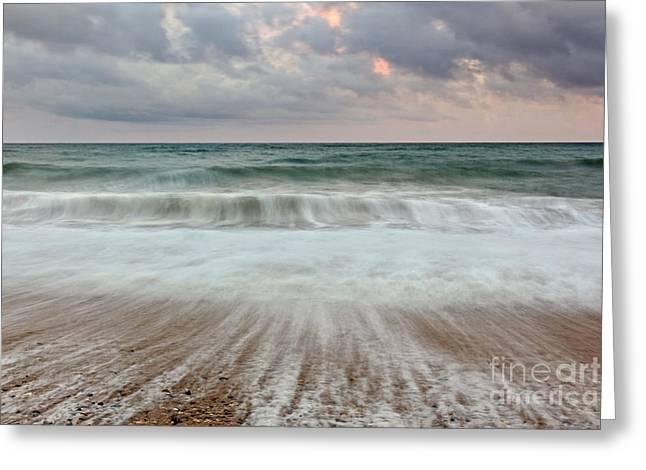 Tidal Photographs Greeting Cards - Wave drag Greeting Card by Richard Thomas
