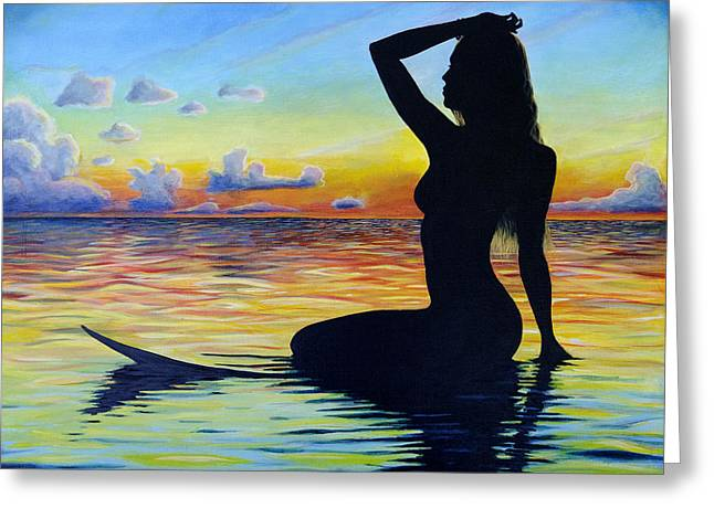 Surf Silhouette Paintings Greeting Cards - Wave Goddess Greeting Card by Kelly Meagher