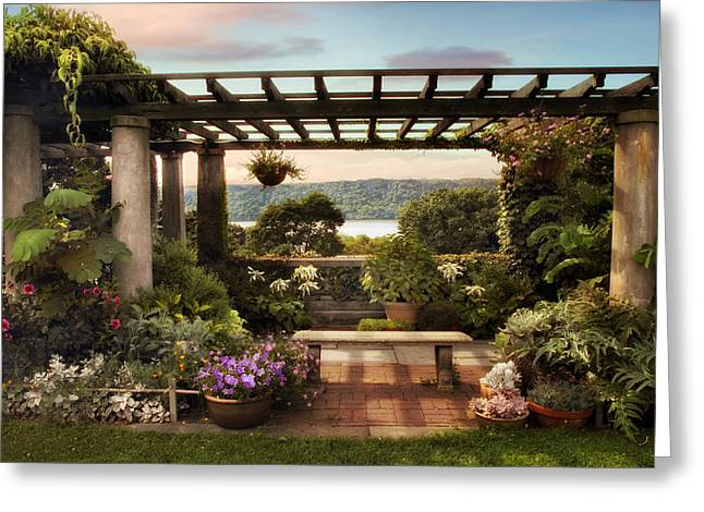 River View Greeting Cards - Wave Hill Pergola Greeting Card by Jessica Jenney