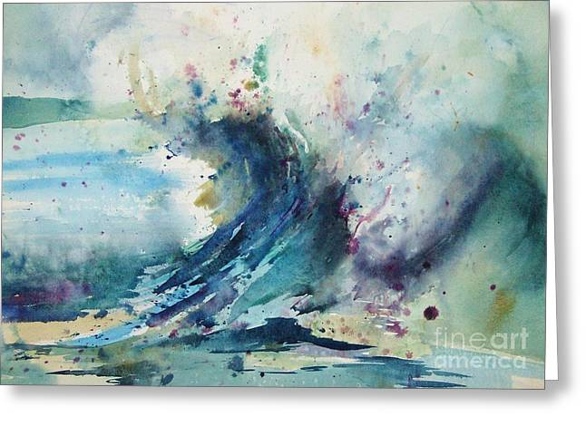 Blue Paintings Greeting Cards - Wave II Greeting Card by Betty Pinkston