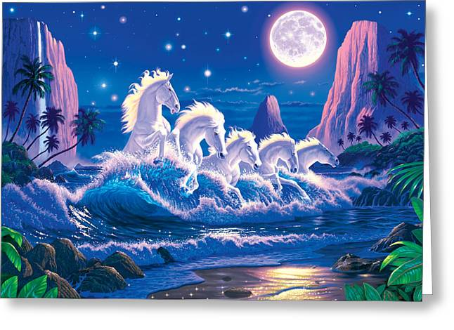 Moon Beach Greeting Cards - Wave Of Horses Greeting Card by Chris Heitt