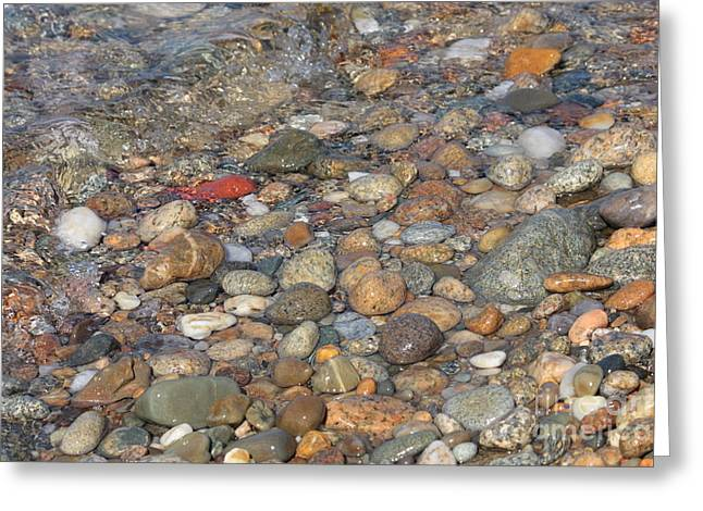 Textures And Colors Greeting Cards - Wave over Beautiful Rocks Greeting Card by Carol Groenen