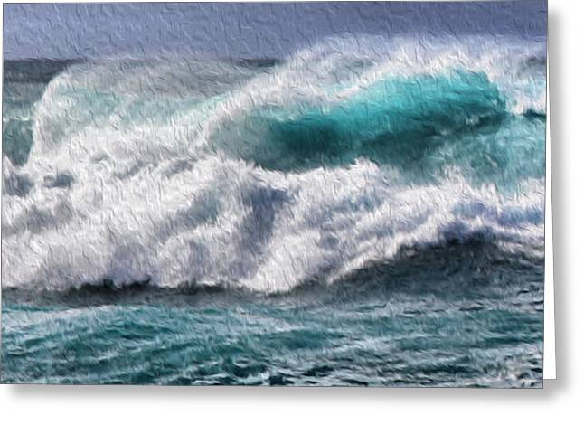 Surreal Landscape Mixed Media Greeting Cards - Wave panoramic painting Greeting Card by Cheryl Young