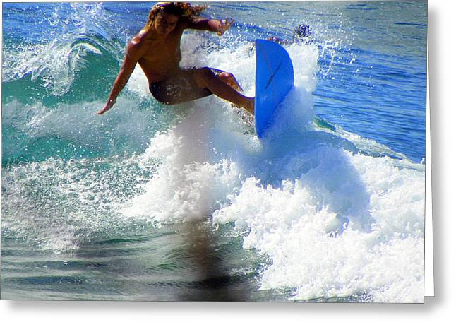 Surfing Contest Greeting Cards - Wave Rider Greeting Card by Karen Wiles