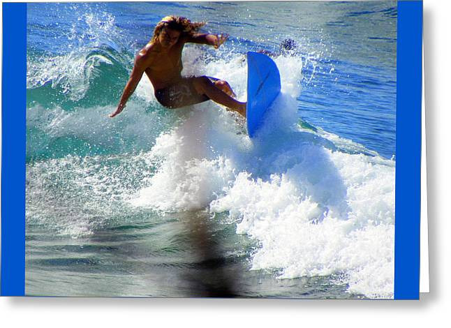 Blue Green Wave Greeting Cards - Wave Rider Greeting Card by Karen Wiles