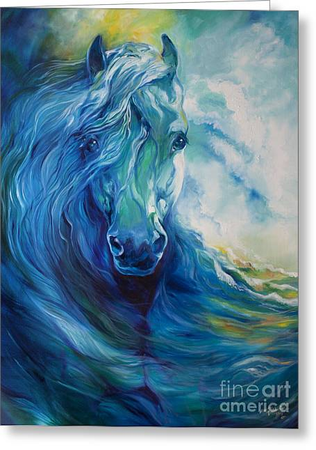 Abstract Equine Greeting Cards - Wave Runner Blue Ghost Equine Greeting Card by Marcia Baldwin