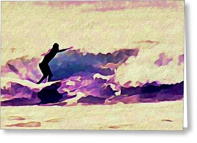 Surfer Art Greeting Cards - Wave Runner Greeting Card by John Malone