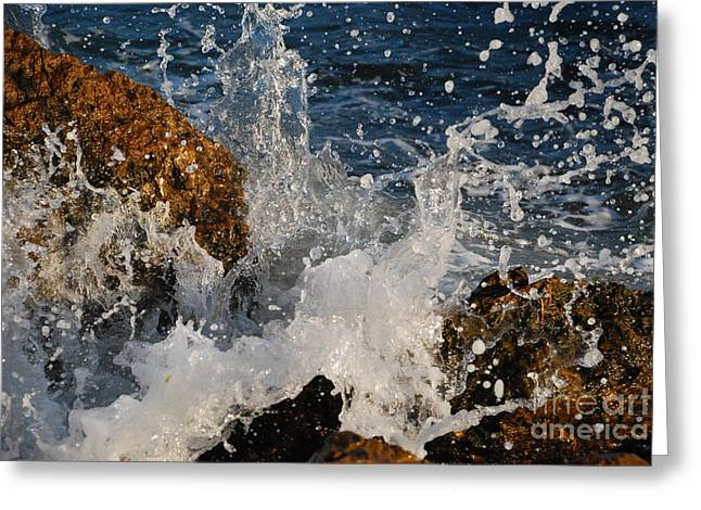 Crushing Stones Greeting Cards - Wave Greeting Card by Stefan Dinov
