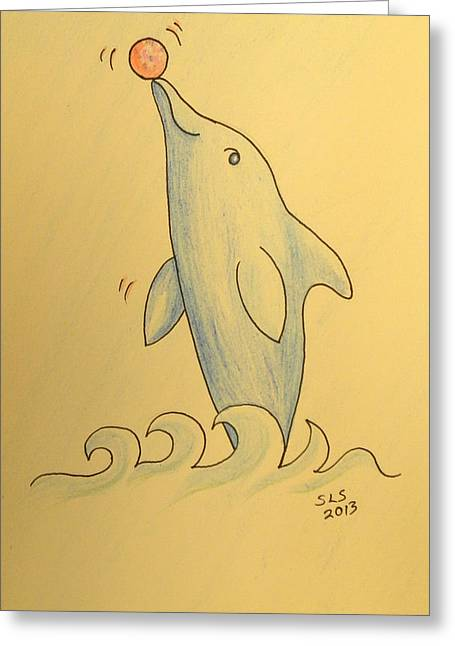 Youthful Mixed Media Greeting Cards - Wave the Suzuki Dolphin Greeting Card by Sheri Lauren Schmidt