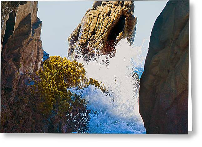 Wave through the Cave at Pfiffer Beach in Big Sur Greeting Card by Artist and Photographer Laura Wrede