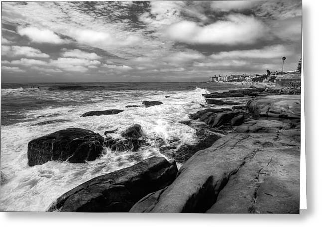California Beaches Greeting Cards - Wave Wash - Black and White Greeting Card by Peter Tellone