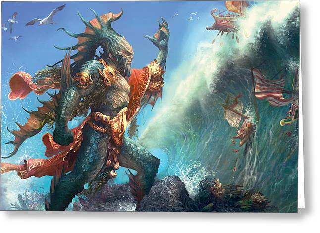 Wavecrash Triton Greeting Card by Ryan Barger