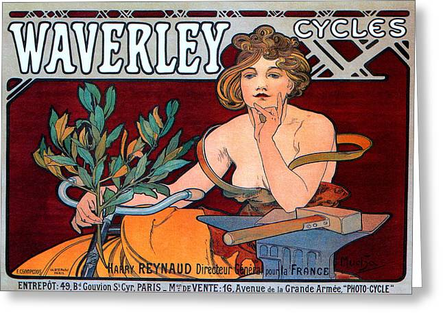 Belle Epoque Mixed Media Greeting Cards - Waverley Cycles Greeting Card by Alphonse Mucha