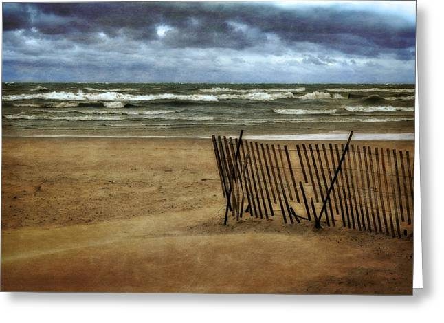 Sand Fences Digital Art Greeting Cards - Waves and Clouds  Greeting Card by Michelle Calkins