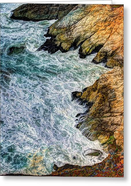 Hwy 1 Greeting Cards - Waves and Coastline at Devils Slide in San Mateo County California Greeting Card by Jennifer Rondinelli Reilly