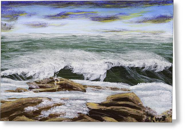 Maine Landscape Paintings Greeting Cards - Waves And Rocks Seascape Greeting Card by Keith Webber Jr