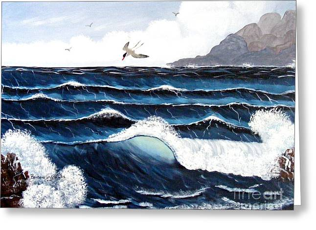 Tern Paintings Greeting Cards - Waves and Tern Greeting Card by Barbara Griffin