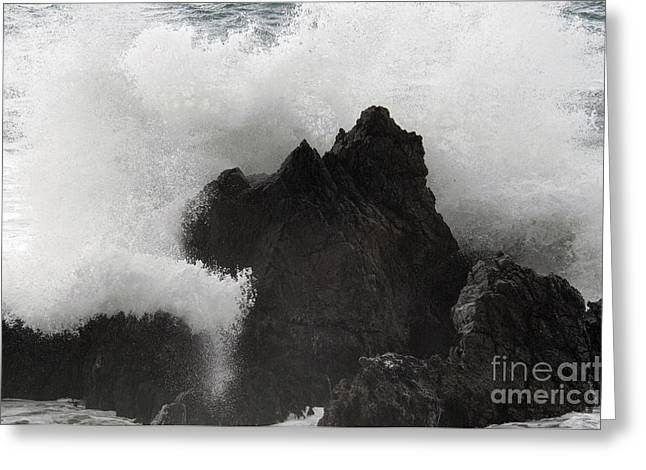 Californian Greeting Cards - Waves At Big Sur Greeting Card by Mark Newman