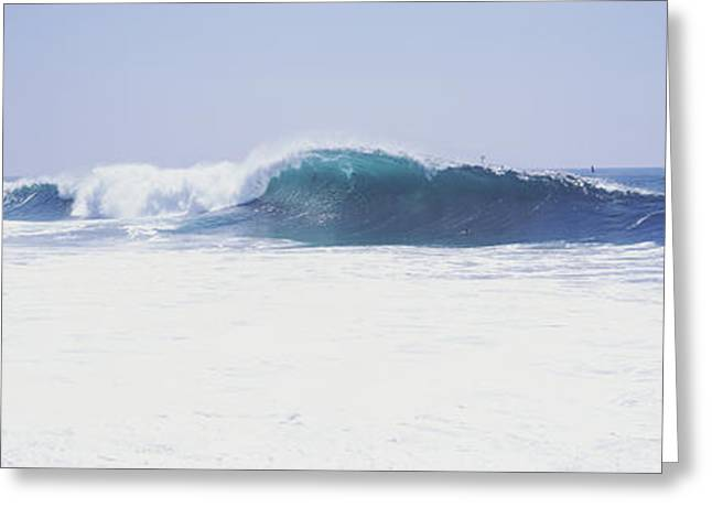 California Beach Image Greeting Cards - Waves At The Wedge, Newport Beach Greeting Card by Panoramic Images