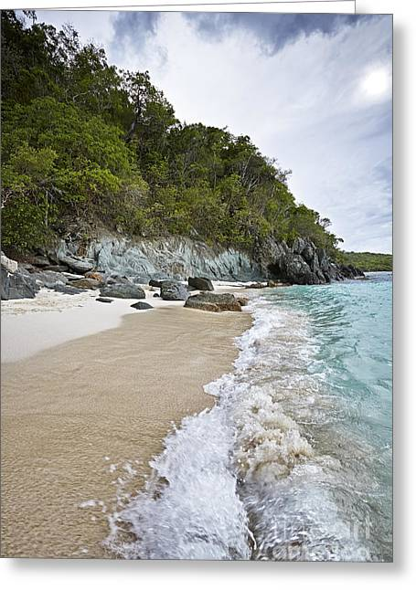 Virgin Pyrography Greeting Cards - Waves at Trunk Bay Beach Greeting Card by Eyzen M Kim