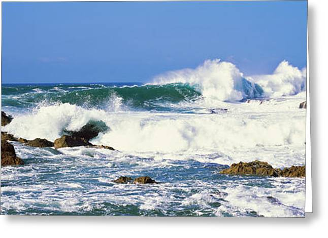 Ocean Photography Greeting Cards - Waves Breaking At Rocks, Hawaii, Usa Greeting Card by Panoramic Images
