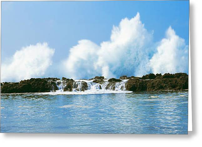 Ocean Photography Greeting Cards - Waves Breaking At Rocks, Oahu, Hawaii Greeting Card by Panoramic Images