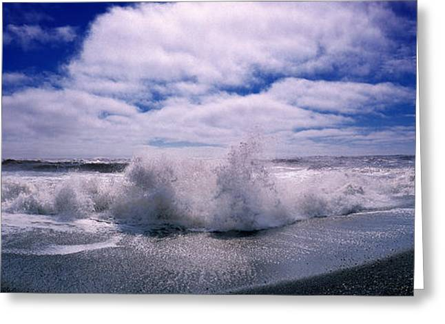 Horizon Over Water Greeting Cards - Waves Breaking At The Coast, Iceland Greeting Card by Panoramic Images