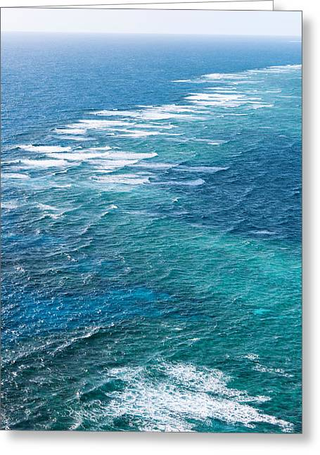 Ocean Photography Greeting Cards - Waves Breaking On Great Barrier Reef Greeting Card by Panoramic Images