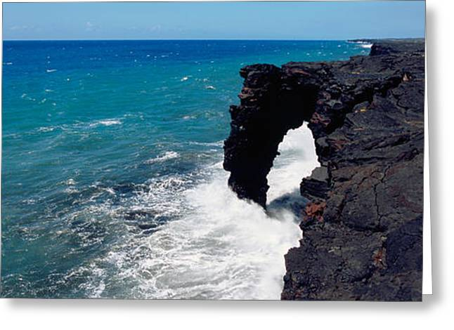 Park Scene Greeting Cards - Waves Breaking On Rocks, Hawaii Greeting Card by Panoramic Images