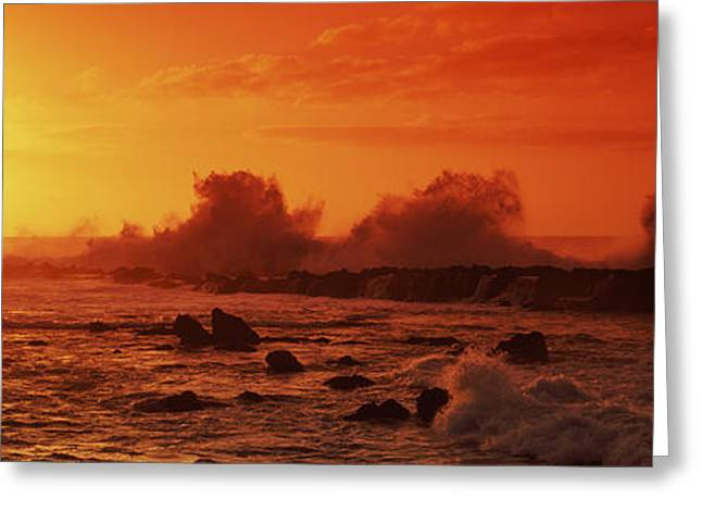 The Natural World Greeting Cards - Waves Breaking On Rocks In The Sea Greeting Card by Panoramic Images
