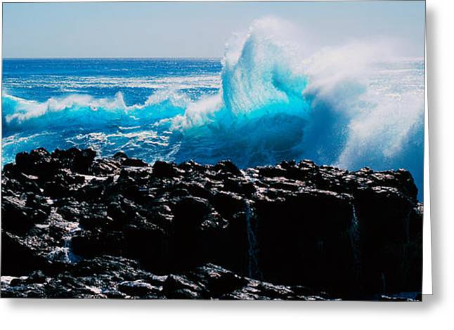 Strength Photographs Greeting Cards - Waves Breaking On Rocks Greeting Card by Panoramic Images