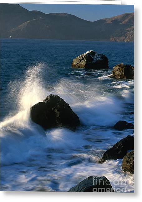 Californian Greeting Cards - Waves Breaking On Shore Greeting Card by Jim Corwin