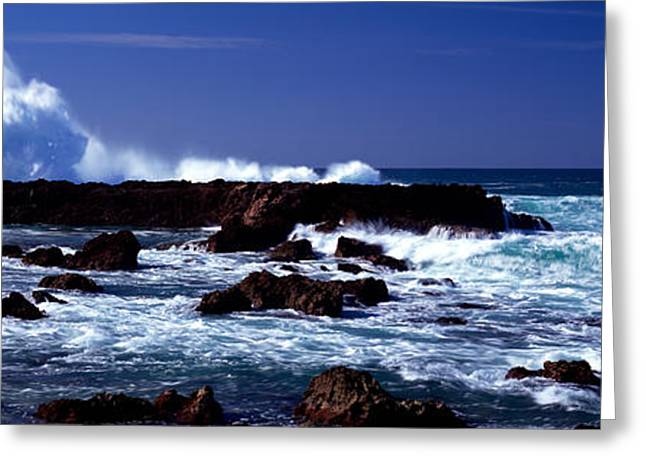 Strength Photographs Greeting Cards - Waves Breaking On The Coast Greeting Card by Panoramic Images