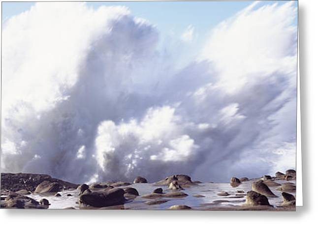 Strength Photographs Greeting Cards - Waves Breaking On The Coast, Shore Greeting Card by Panoramic Images