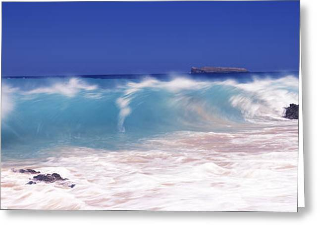 Makena Greeting Cards - Waves Breaking On The Rocks, Big Beach Greeting Card by Panoramic Images