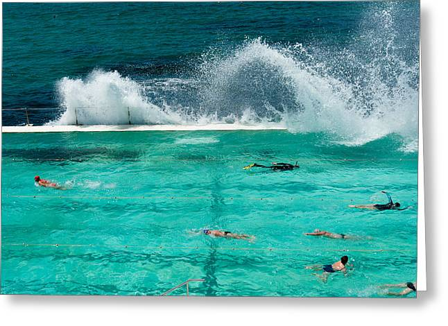 Waves Breaking Over Edge Of Pool Greeting Card by Panoramic Images
