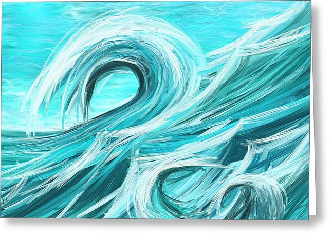Green And Yellow Abstract Greeting Cards - Waves Collision - Abstract Wave Paintings Greeting Card by Lourry Legarde