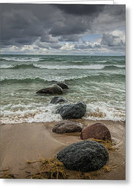 Sturgeon Greeting Cards - Waves coming in Greeting Card by Randall Nyhof